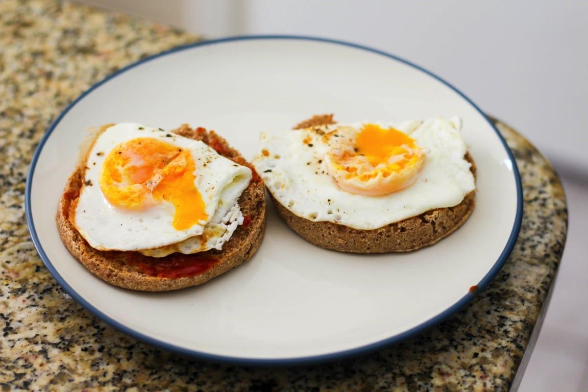English muffin sunny eggs