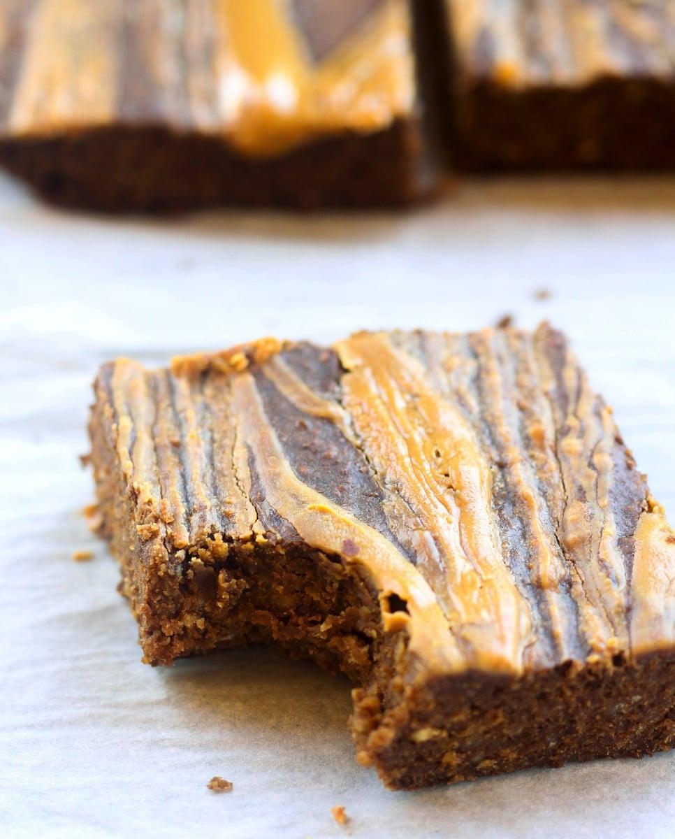 Gluten Free Healthy Peanut Butter Swirl Brownies Bite