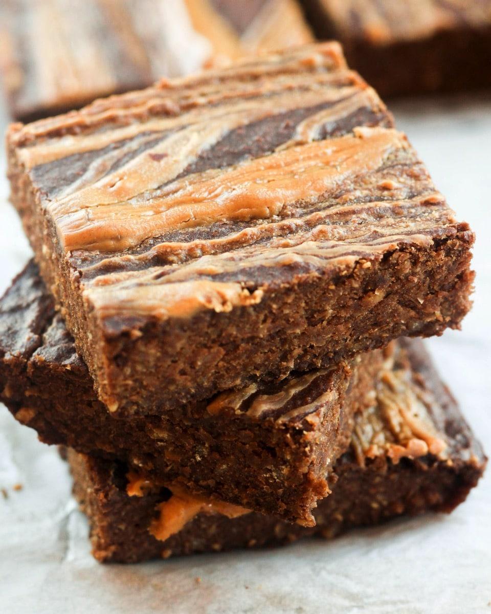 Gluten Free Healthy Peanut Butter Swirl Brownies Close