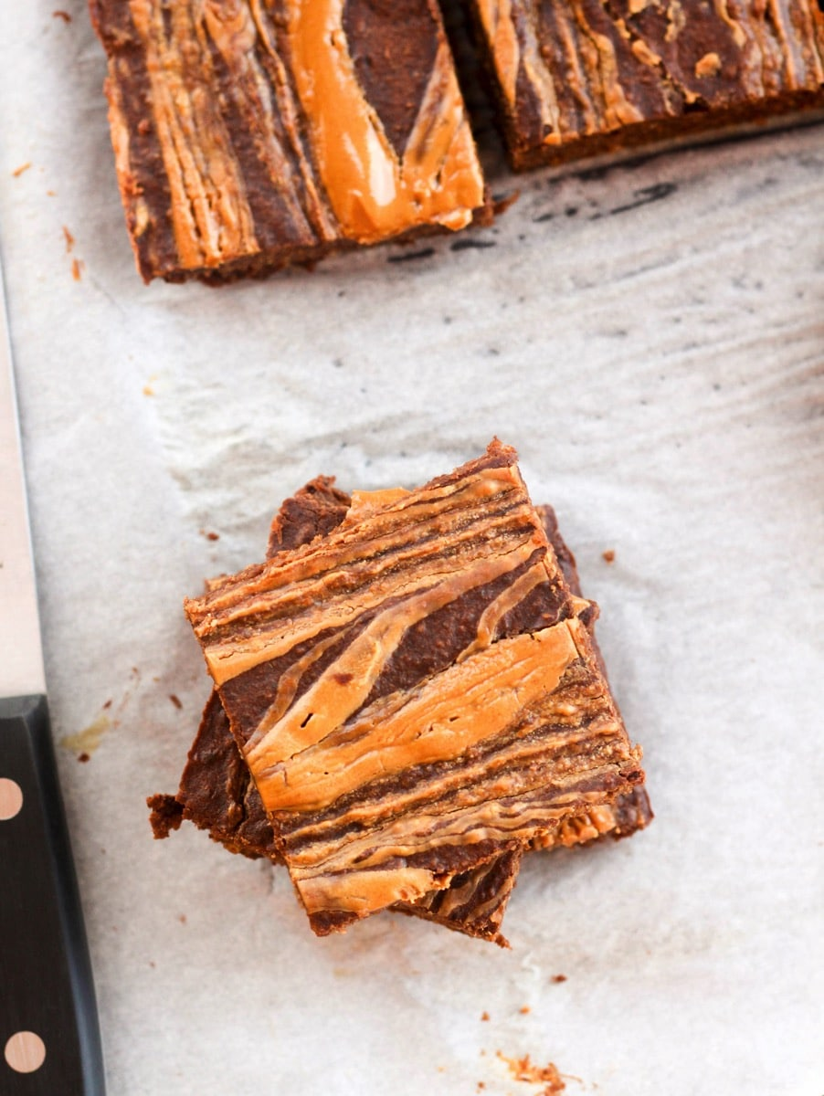 Gluten Free Healthy Peanut Butter Swirl Brownies Top