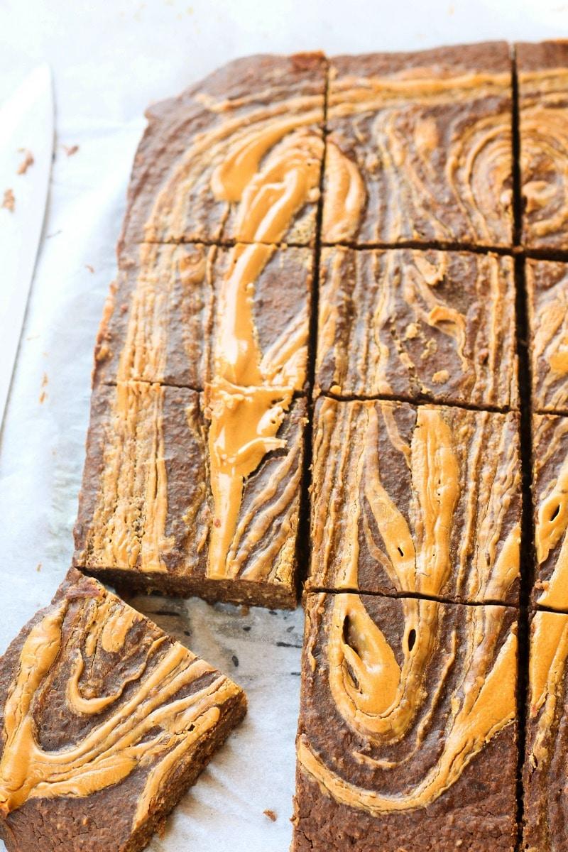 Gluten Free Healthy Peanut Butter Swirl Brownies