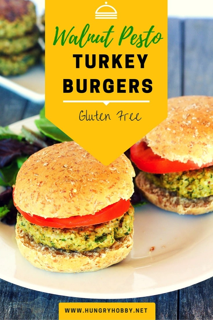 Gluten free grain free walnut pesto turkey burgers