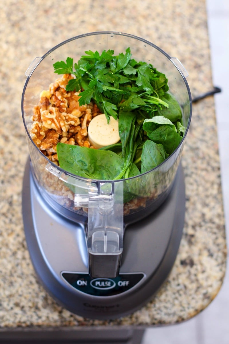 Walnut pesto burger food processor ingredients