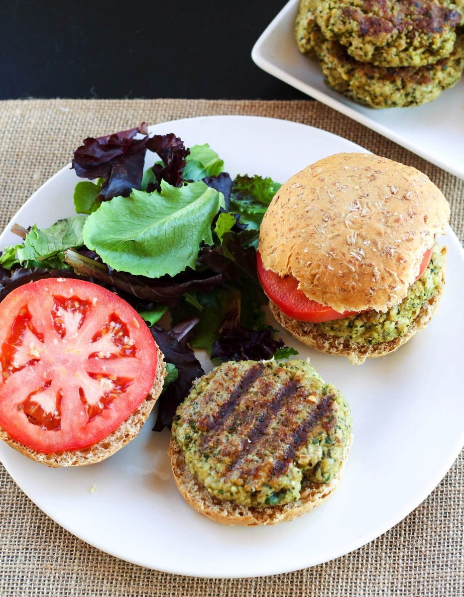 Walnut pesto burger overhead