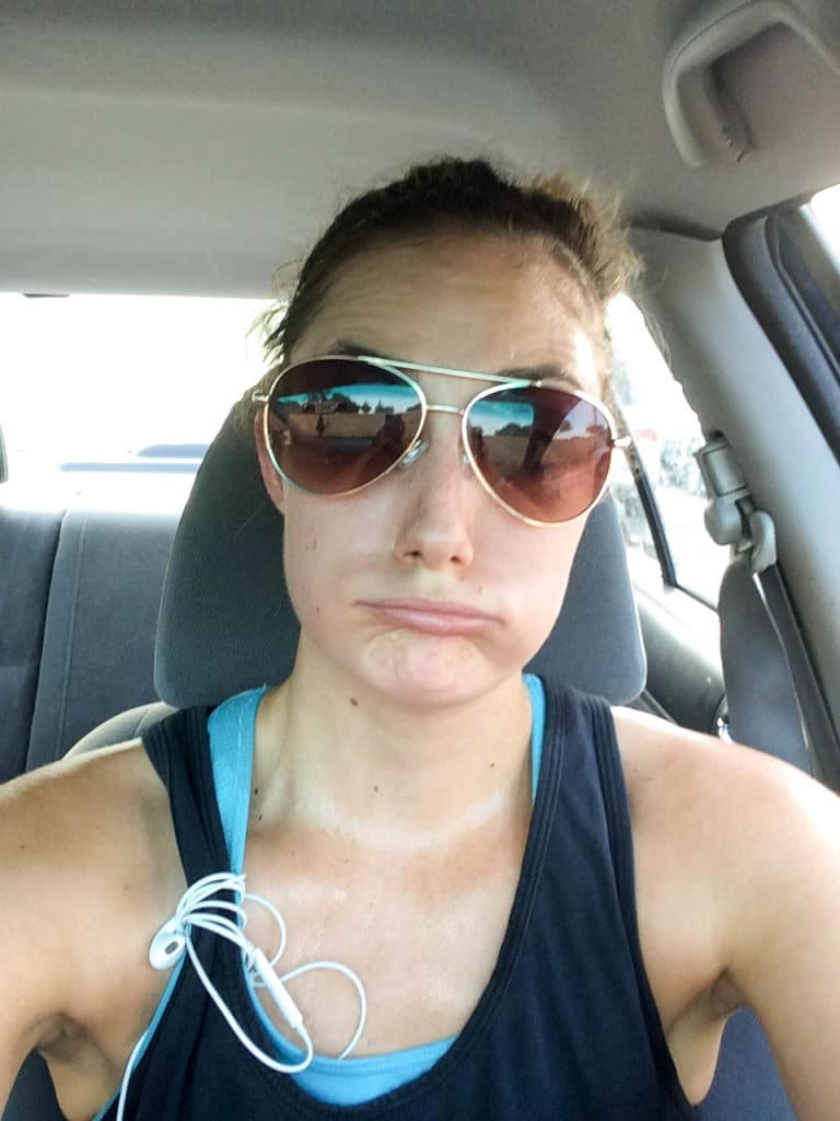 kelli post run 6 miles in car