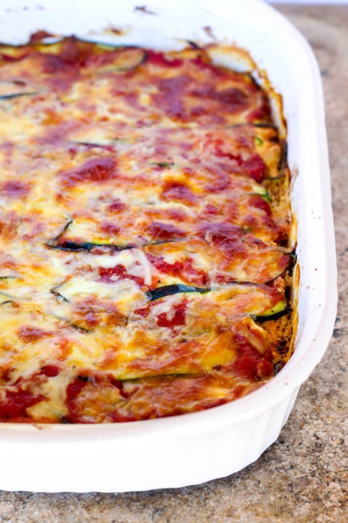 Zucchini Noodle Lasagna - low carb recipe via hungryhobby.net