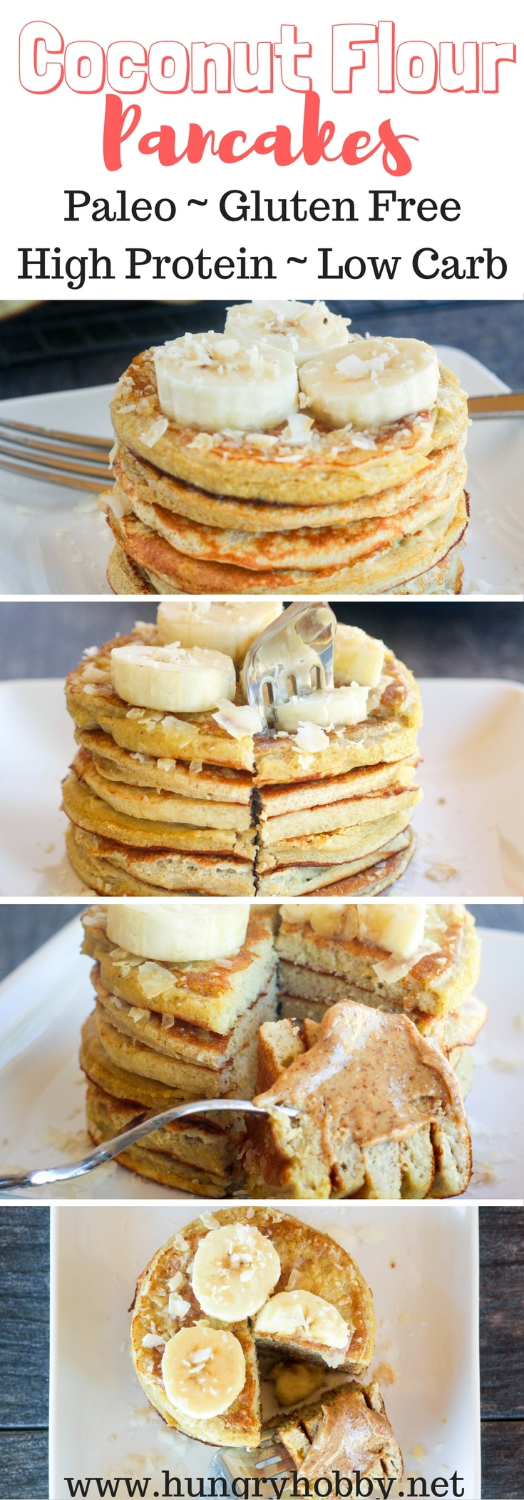 Healthy Coconut Flour Pancakes are gluten free and paleo friendly.  Make a bunch and freeze them ahead for healthy pancakes any day! #glutenfree #paleo #pancakes #hungryhobby #lowcarb #healthy