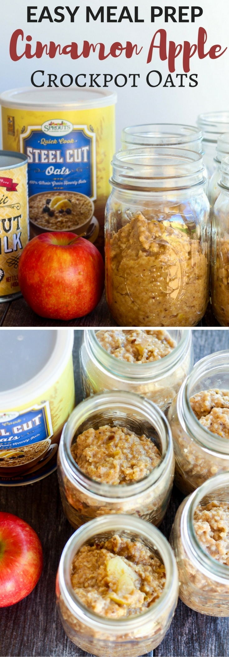 Apple Cinnamon Crockpot Steel Cut Oats are creamy, hearty, and easily prepared to feed the whole family or meal prep for the week! Gluten Free & Vegan