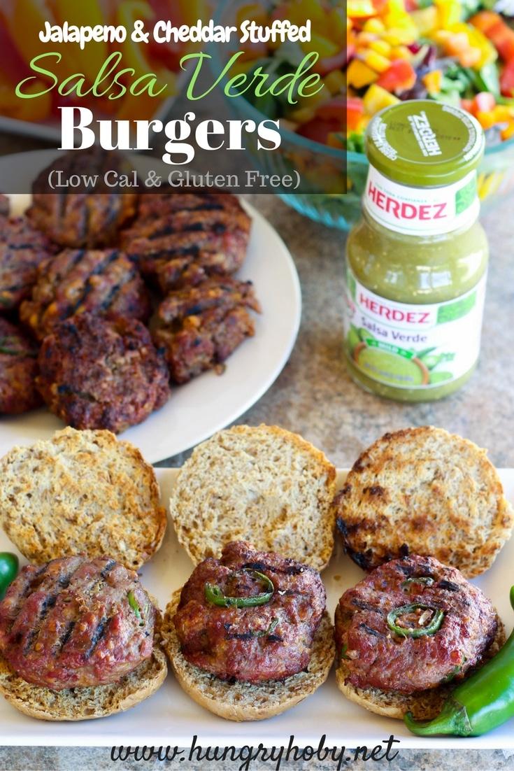 Jalapeno Cheddar Salsa Verde Burgers