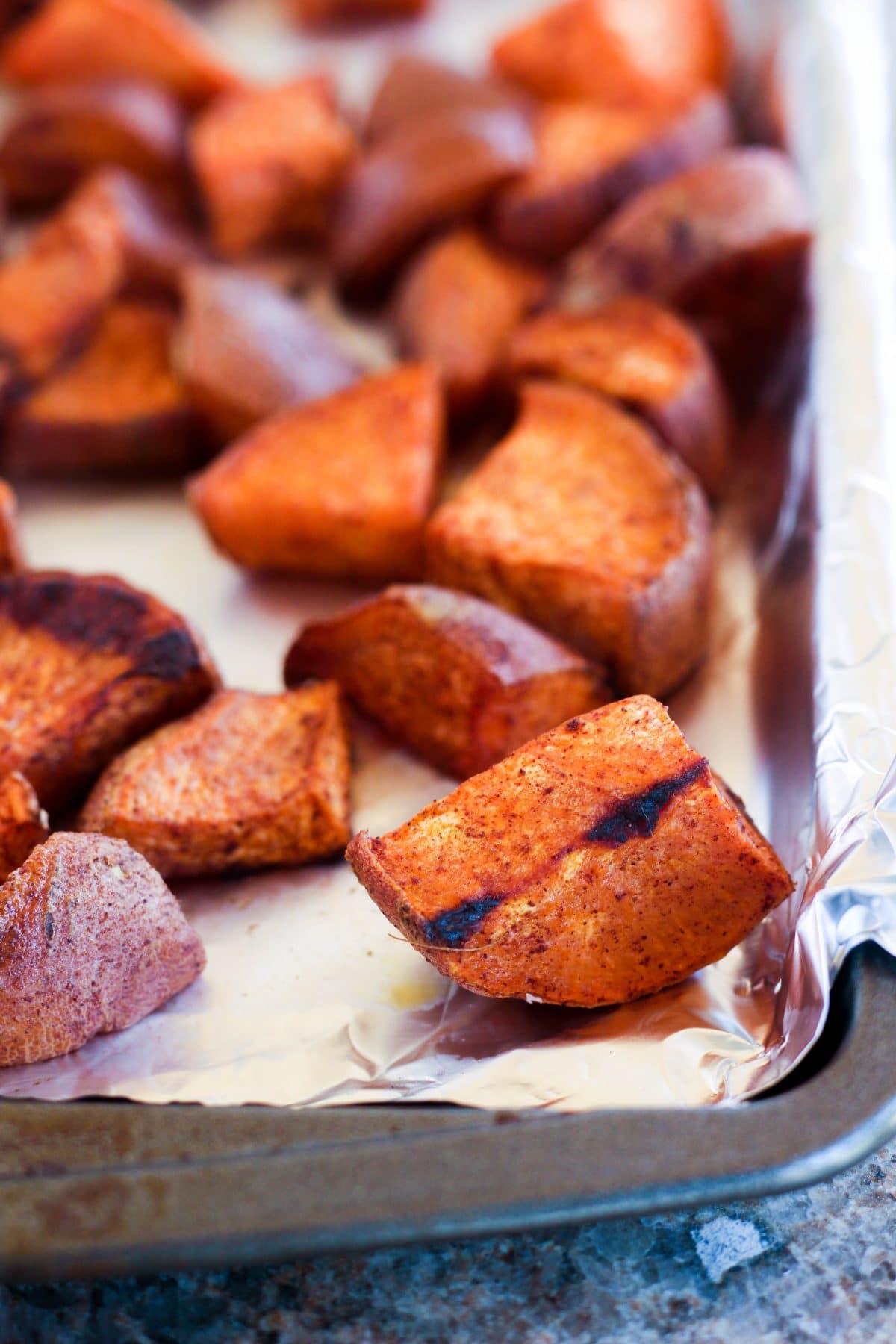 Maple Cinnamon Roasted Sweet Potatoes