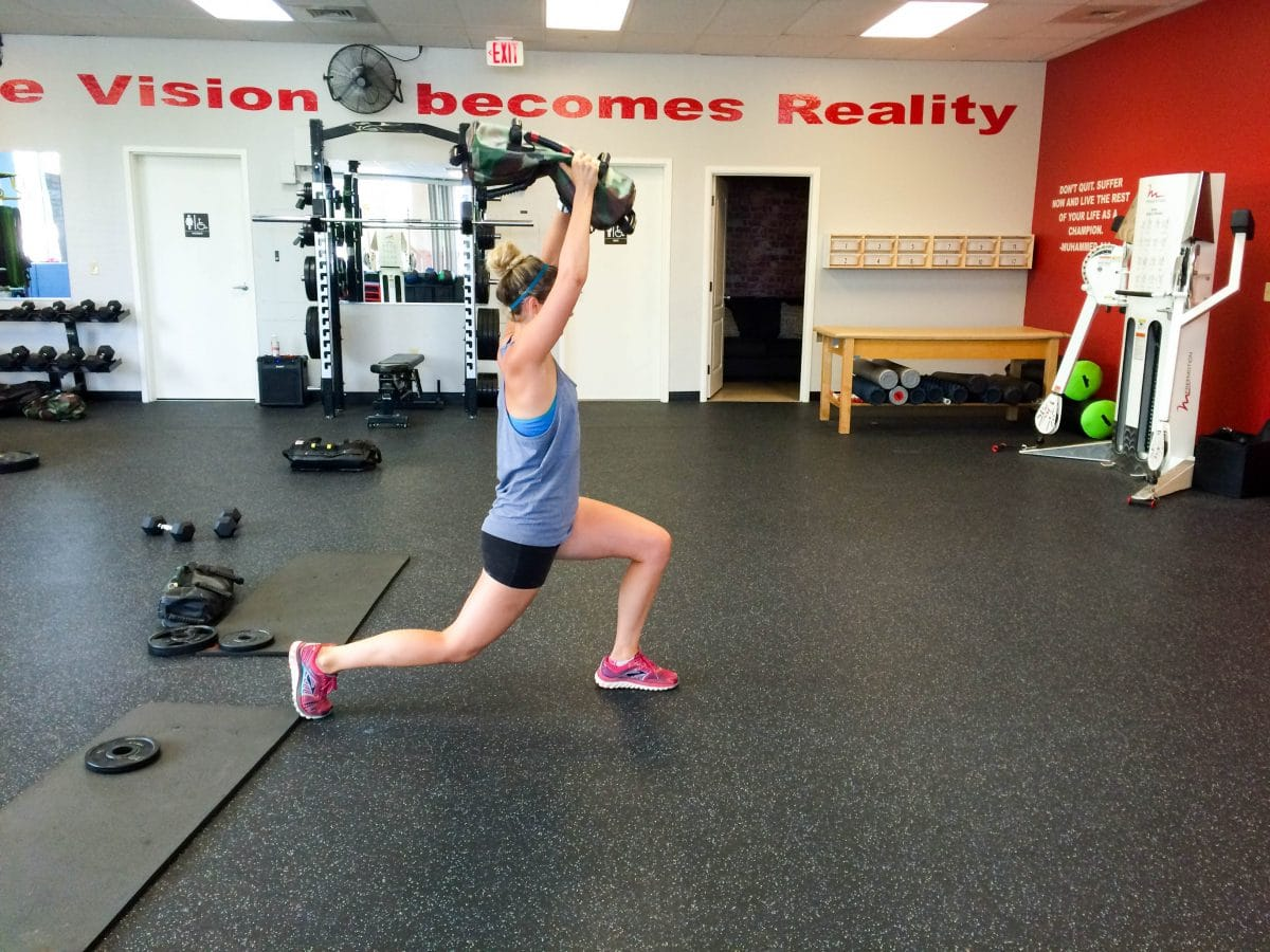 sandbag arc lunges