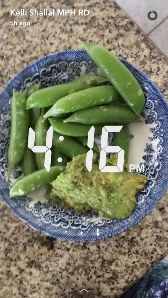 snap peas and guac