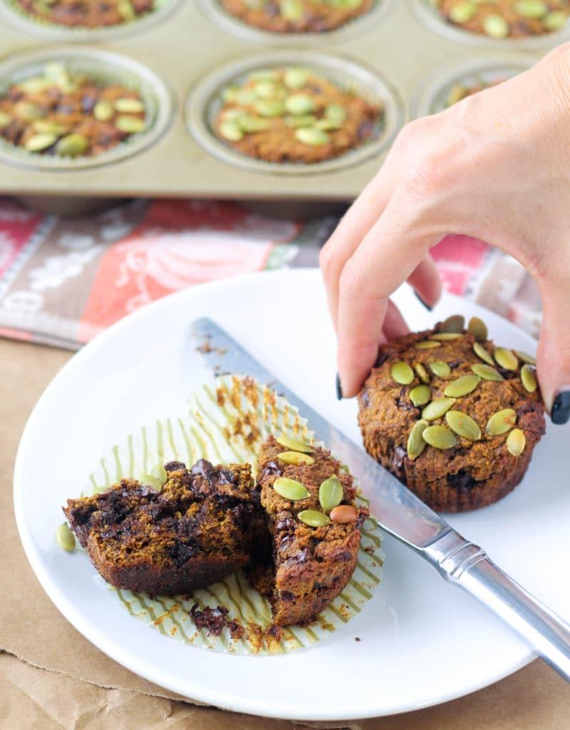 Chocolate Chip Pumpkin Muffins - Gluten, Grain, and Dairy Free - recipe via hungryhobby.net