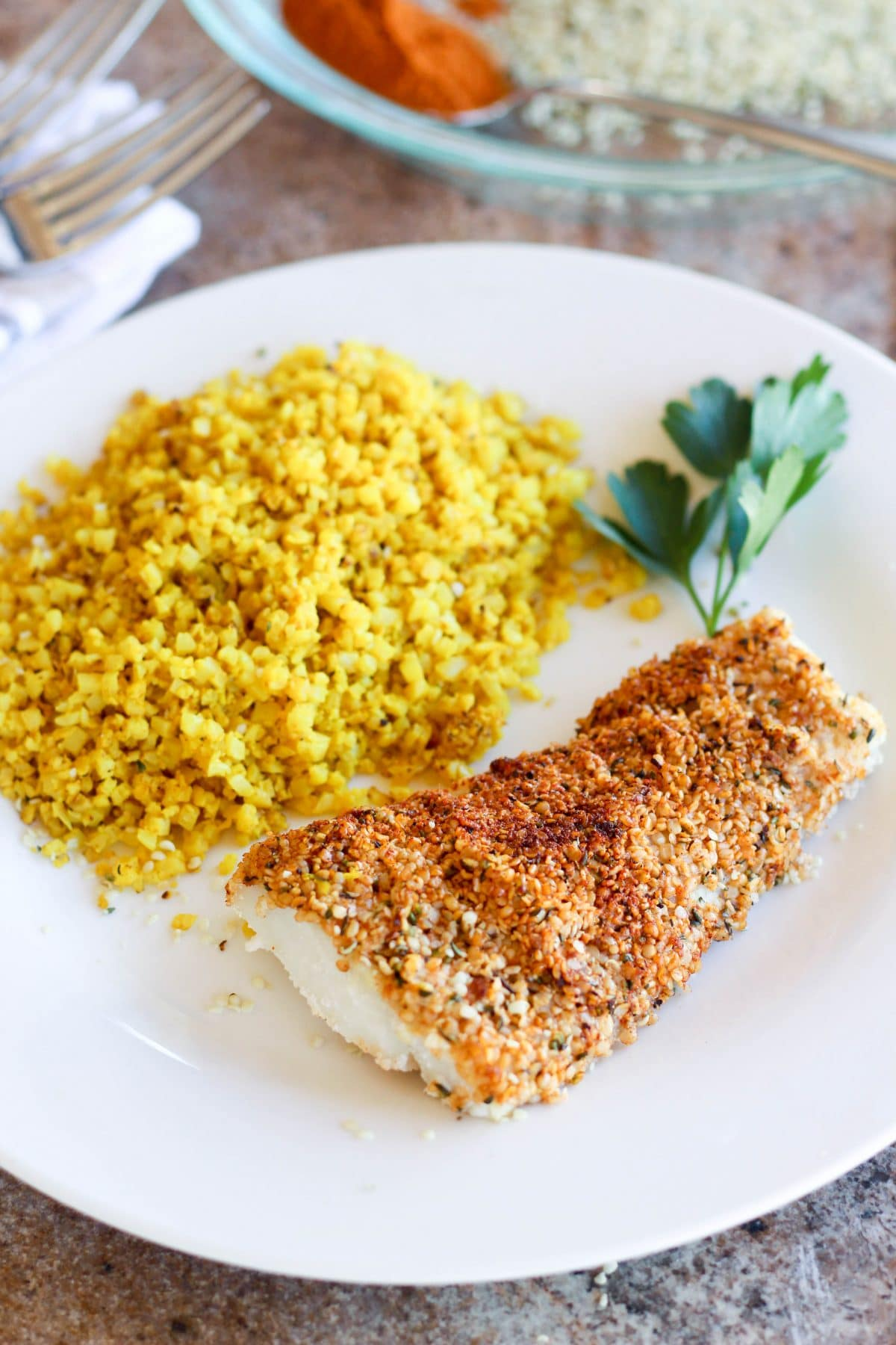 Hemp Seed Crusted Baked Cod
