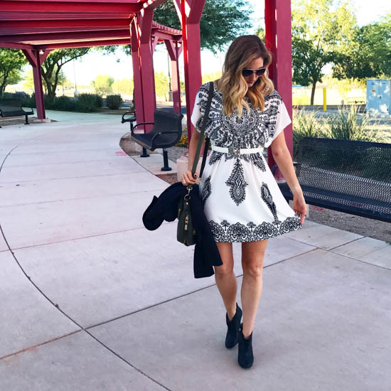 White & Black Dress with Fall Booties