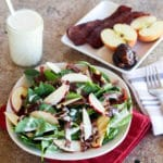 salad with apples, goat cheese, and turkey bacon