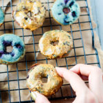 Healthy Peanut Butter Glazed Blueberry Mini Donuts (Dairy Free, Gluten Free)