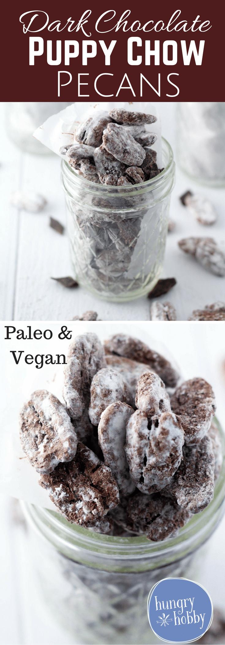 Dark Chocolate Puppy Chow Pecans (Vegan and Paleo Friendly)