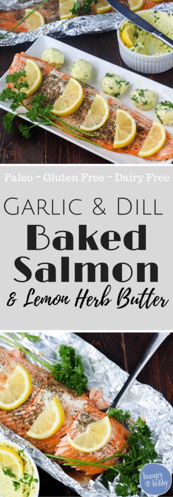 Garlic & Dill Baked Salmon via hungryhobby.net