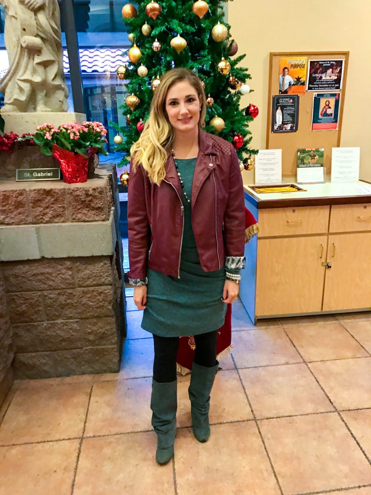 Christmas Sweater Dress and Red Leather Jacket