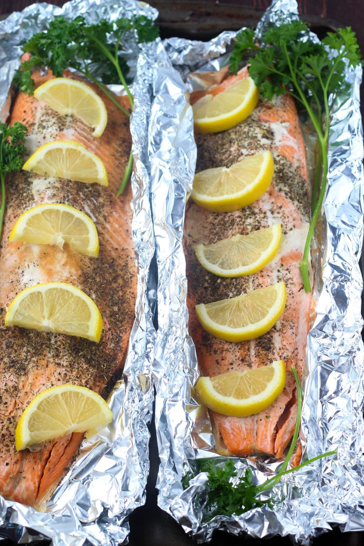 Baked Garlic Dill Salmon with Lemon Herb Butter