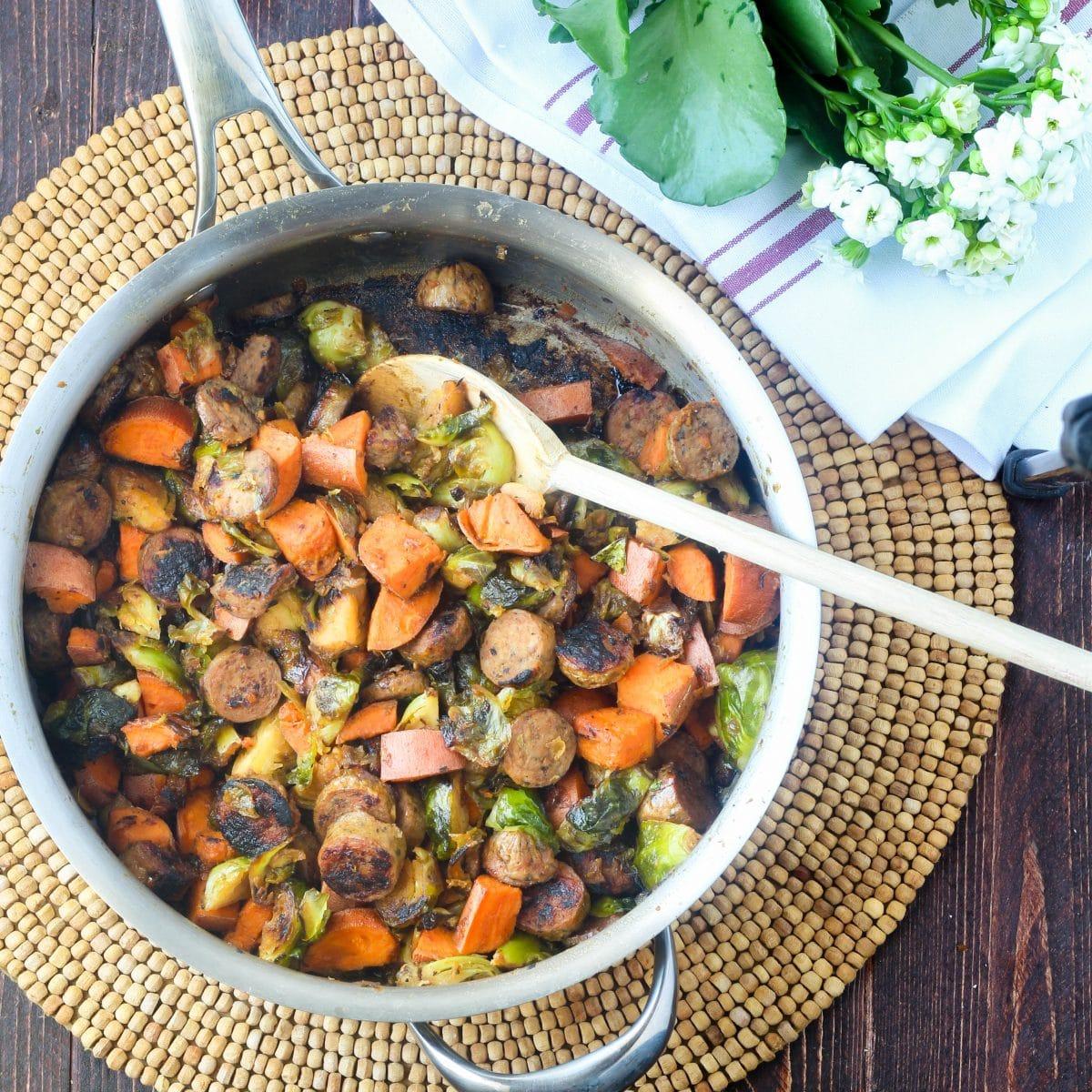 Chicken Sausage Skillet Gluten Free Recipe via hungryhobby.net
