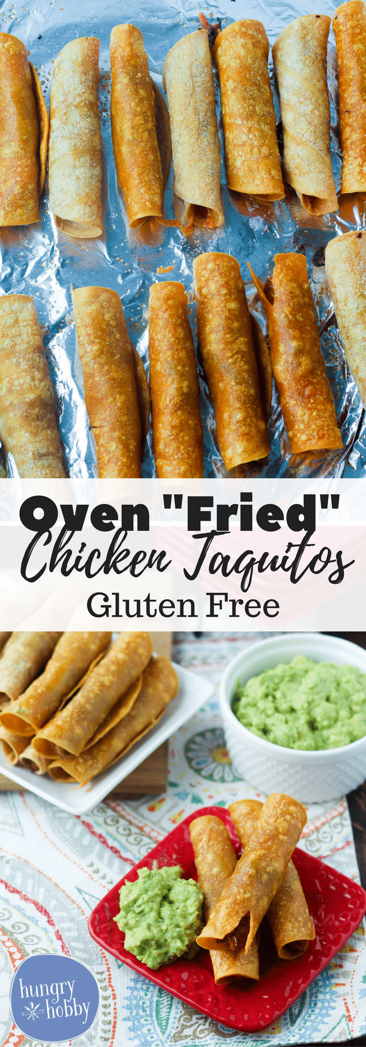 "Oven ""Fried"" Chicken Taquitos are a healthy twist on your favorite Mexican Food appetizer, save tons of calories by baking instead of frying!"