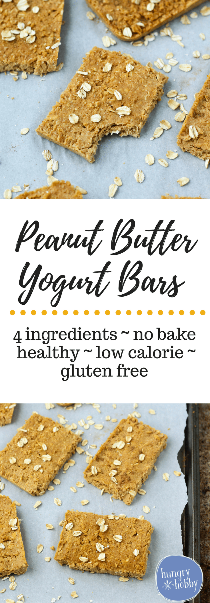 These Peanut Butter Yogurt Bars are made with just four ingredients and are no bake so you can have a healthy snack any time!