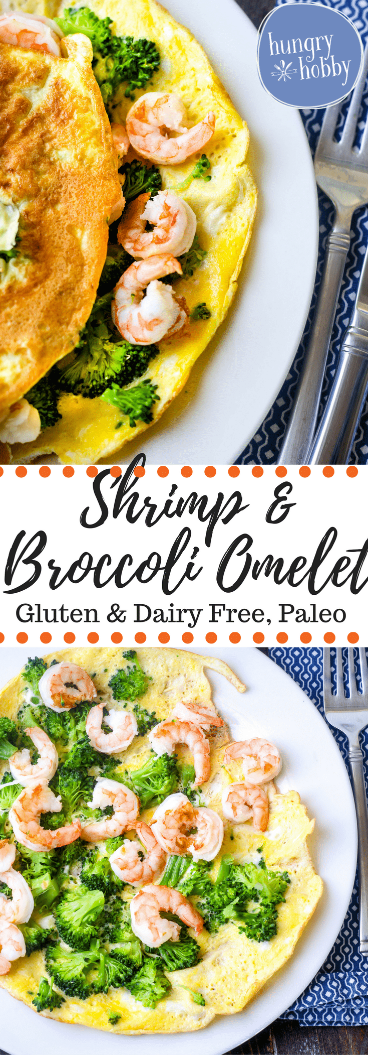Shrimp & Broccoli Omelet is a super easy protein packed healthy one dish meal perfect for any meal! Gluten & Dairy Free, Paleo Friendly