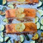 Sheet Pan Baked Jamaican Jerk Salmon & Zucchini