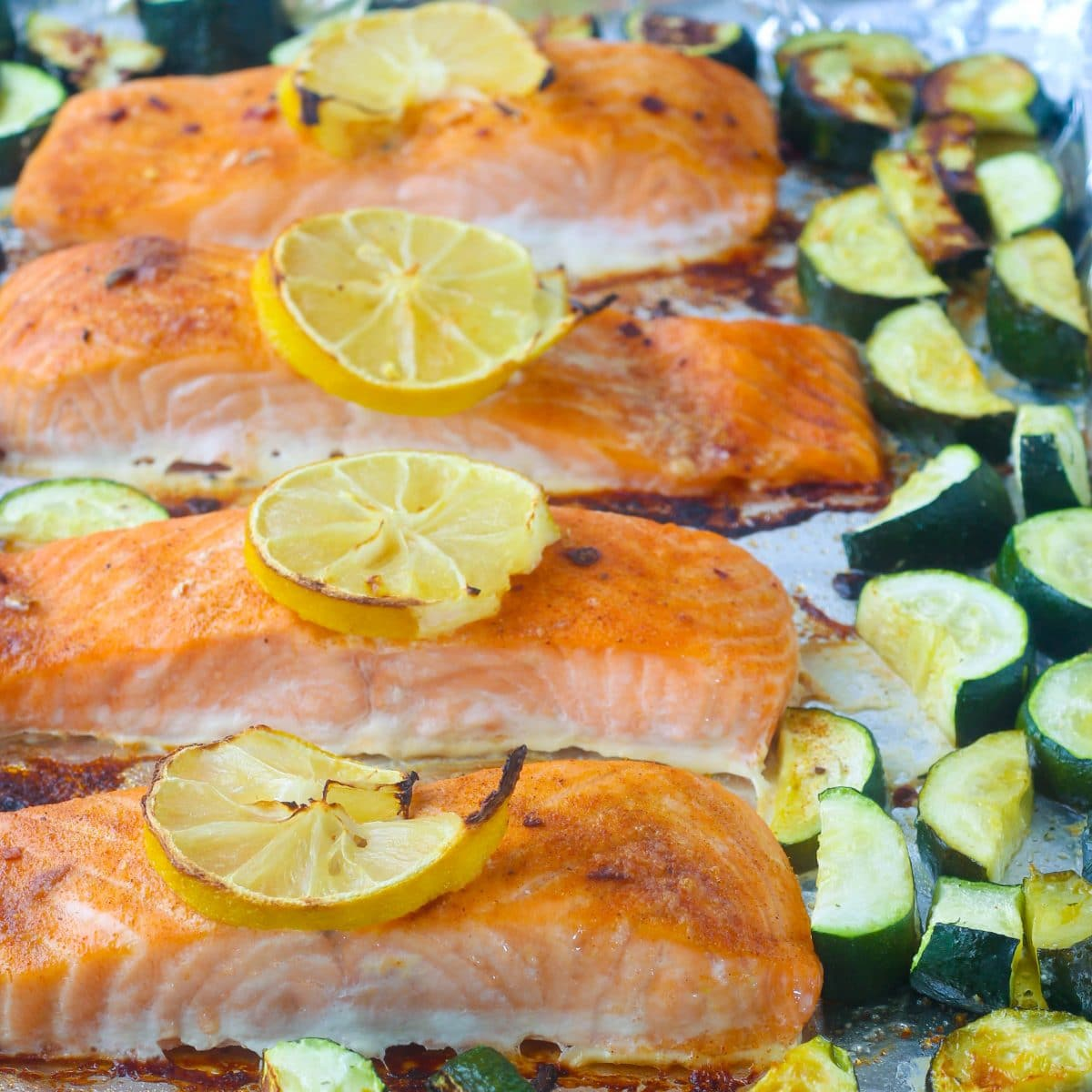 Sheet Pan Jamaican Jerk Salmon & Zucchini
