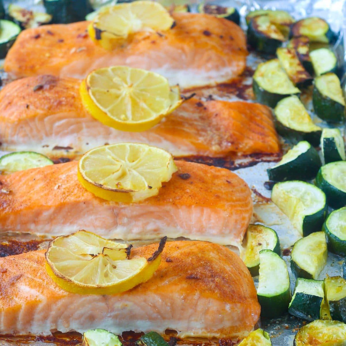 Sheet Pan Jamaican Jerk Salmon & Zucchini