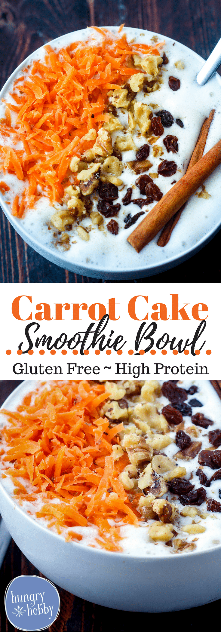 A creamy vanilla cinnamon smoothie bowl topped with all the carrot cake flavor of crunchy bites of carrots and walnuts plus sweet chewy raisins.  High Protein, Gluten-Free, Vegetarian, Vegan Option