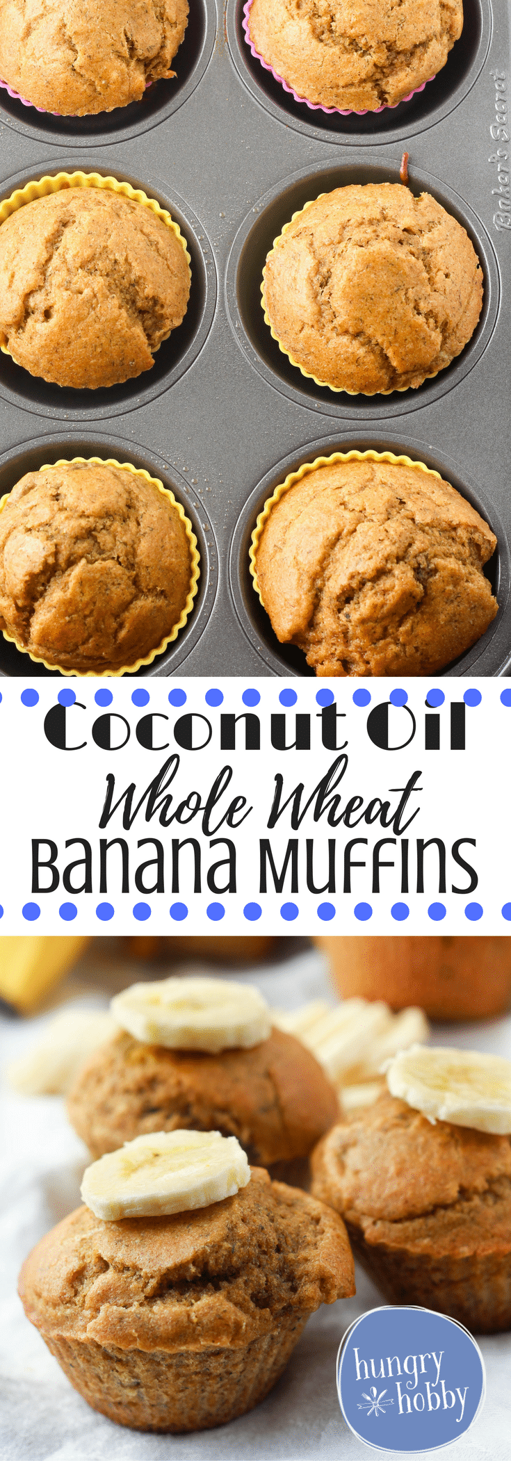 Soft and moist whole wheat banana muffins made with coconut oil and coconut sugar!  Vegetarian, Healthy