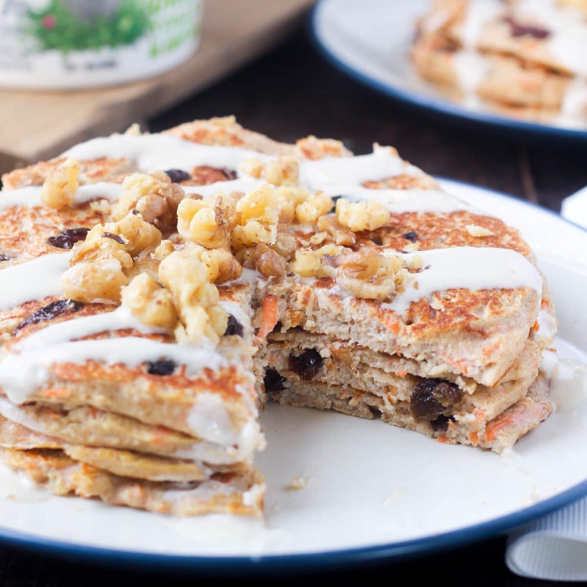 Gluten Free Carrot Cake Greek Yogurt Pancakes