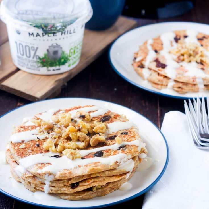 Carrot Cake Greek Yogurt Pancakes