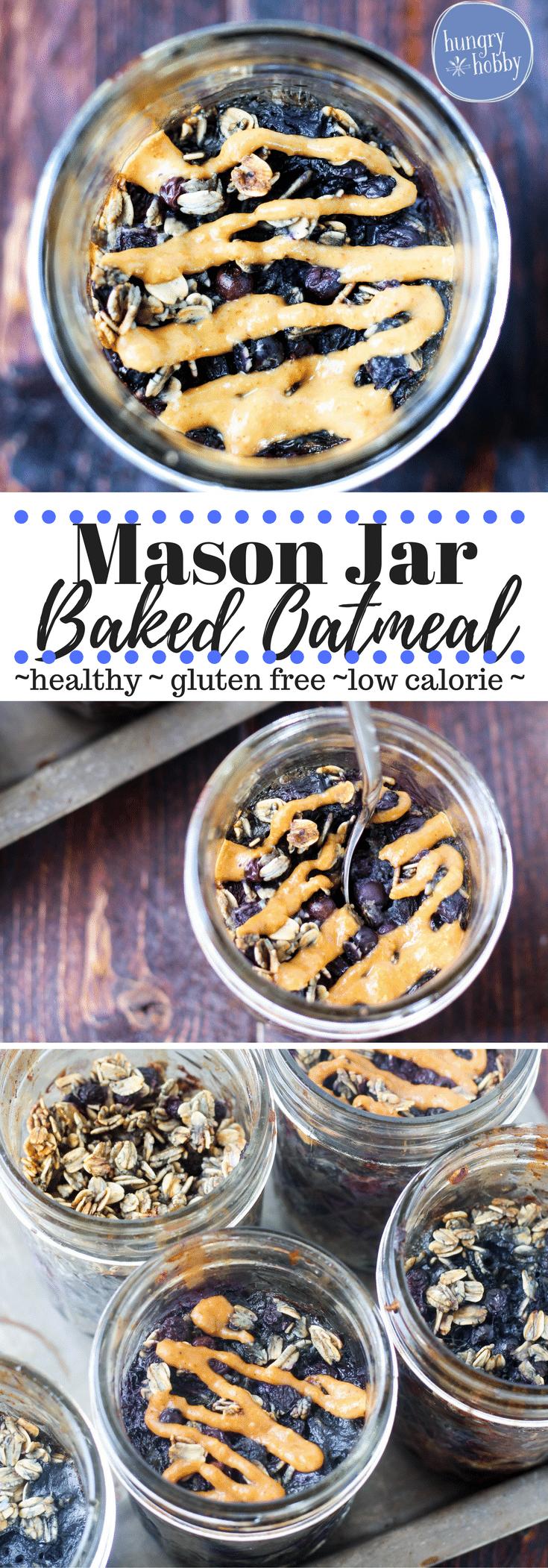 Mason Jar Blueberry Baked Oatmeal Gluten Free Healthy Vegan Option