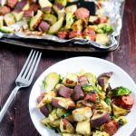 Sheet Pan Brats, Sweet Potato, & Brussels Sprouts