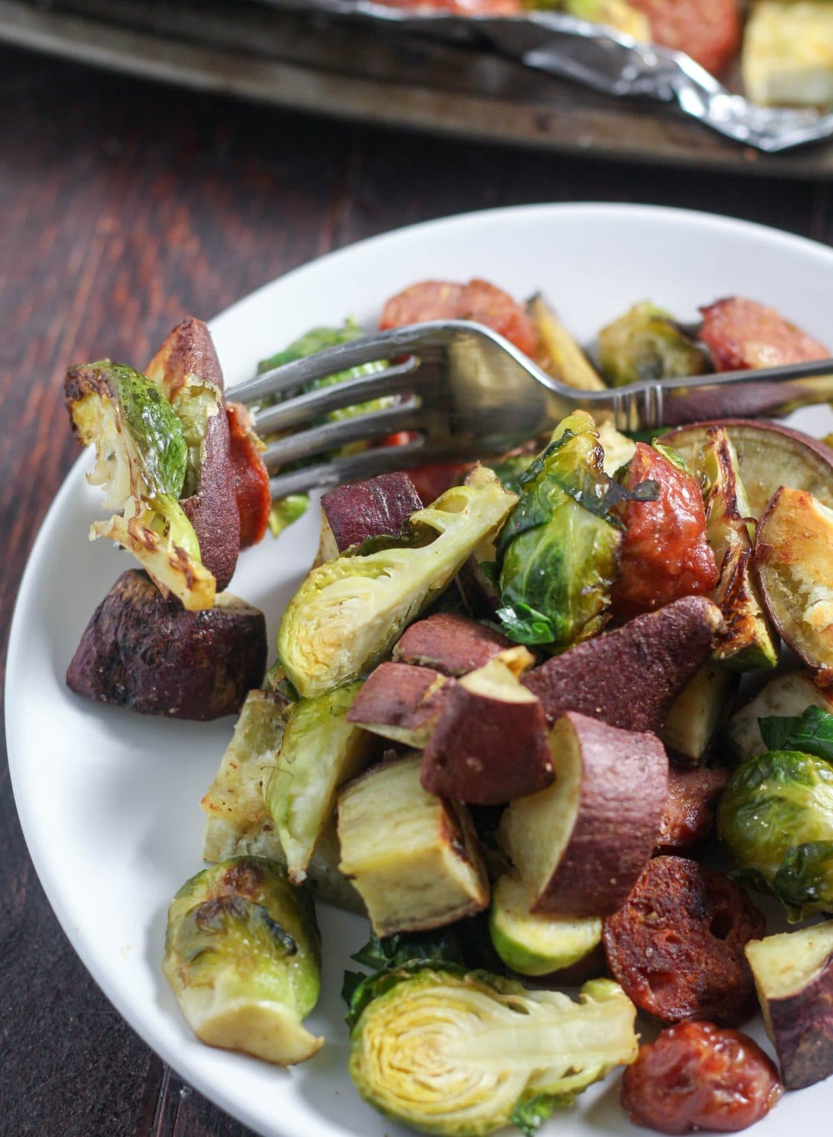Sheet Pan Bratwurst Sweet Potato and Brussel Sprouts