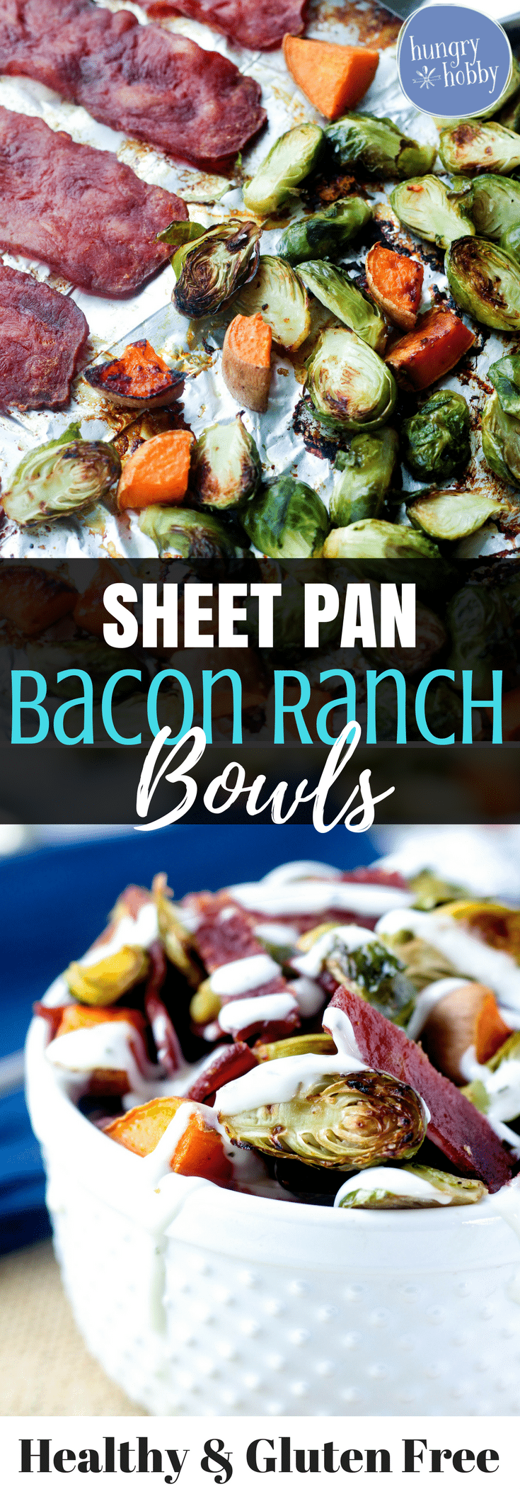 Turkey Bacon Ranch Bowls are a healthy sheet pan meal made with salty bacon baked, then tossed with roasted veggies and slathered with creamy ranch.