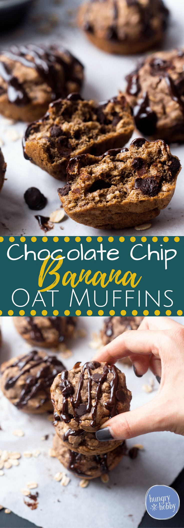 One Bowl Chocolate Chip Banana Oat Muffins - 135 calories per muffin, bursting with a balance of wholesome ingredients & sweet chocolate chips!