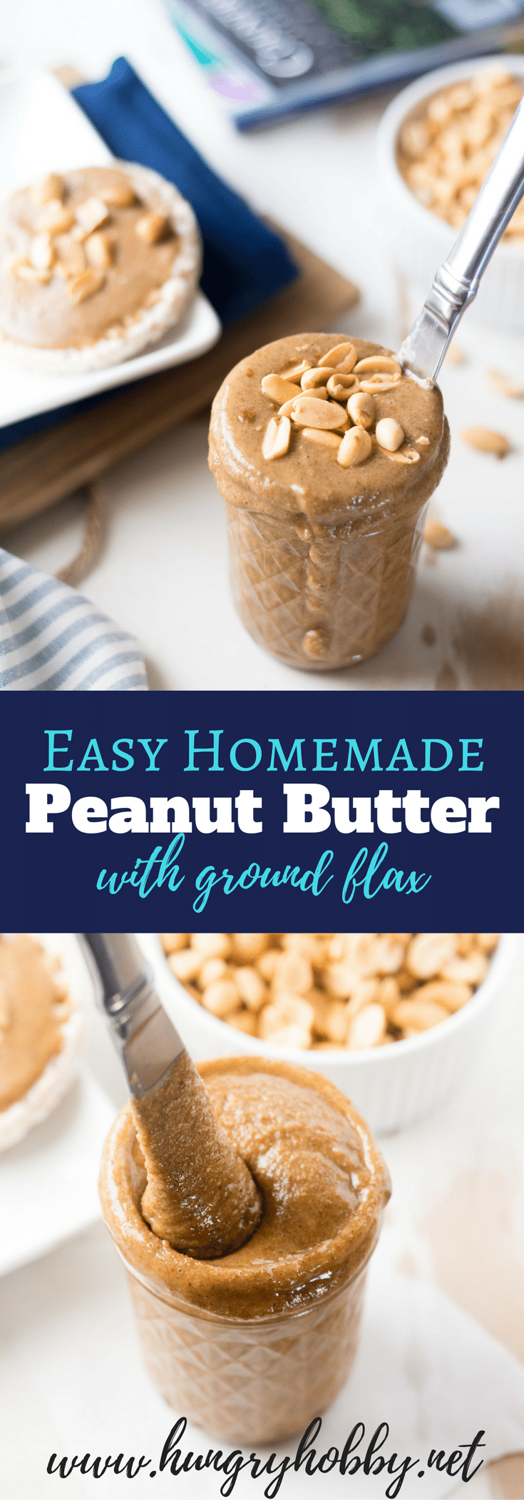 This homemade peanut butter is easier to make than you think & tastier than anything you will find at the store! Packed with anti-inflammatory omega 3 rich flaxseed!