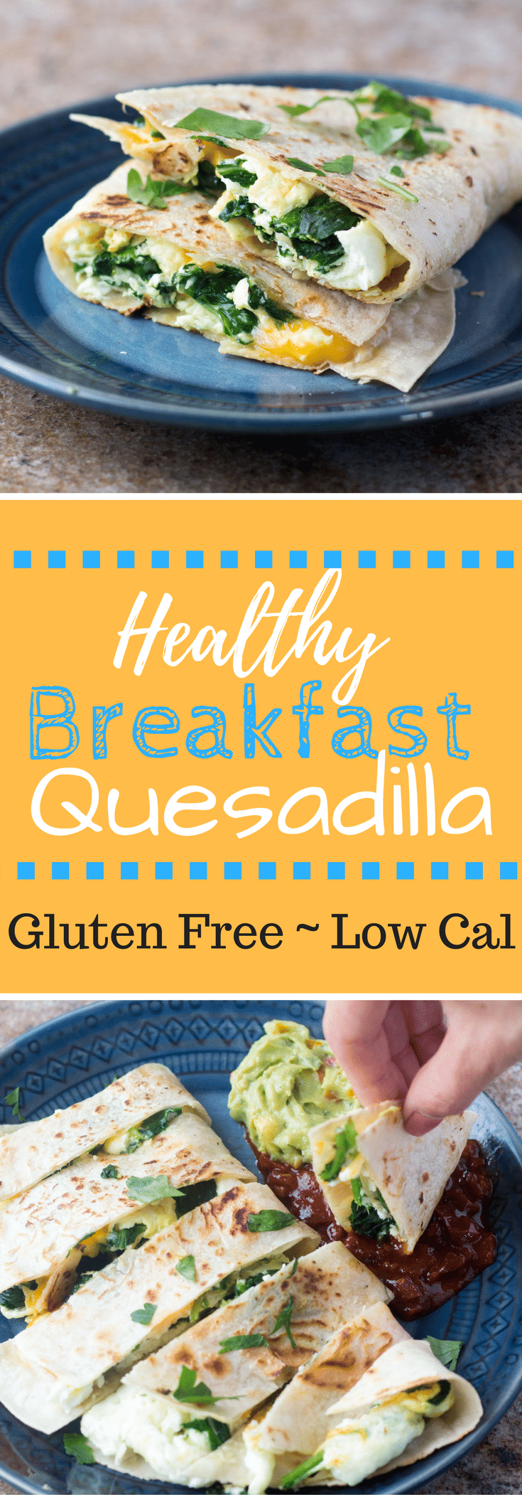 This Healthy Breakfast Quesadilla is filled with spinach, cheddar, and egg whites for a tasty filling healthy gluten-free breakfast!  #glutenfree #lowcalorie #healthy #hungryhobby #highprotein #healthybreakfast