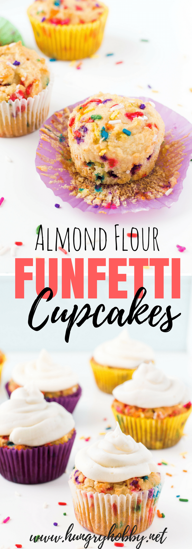 Almond flour funfetti cupcakes are a slightly healthier version of the best cupcake flavor ever, FUNFETTI plus a buttercream frosting to top it off!