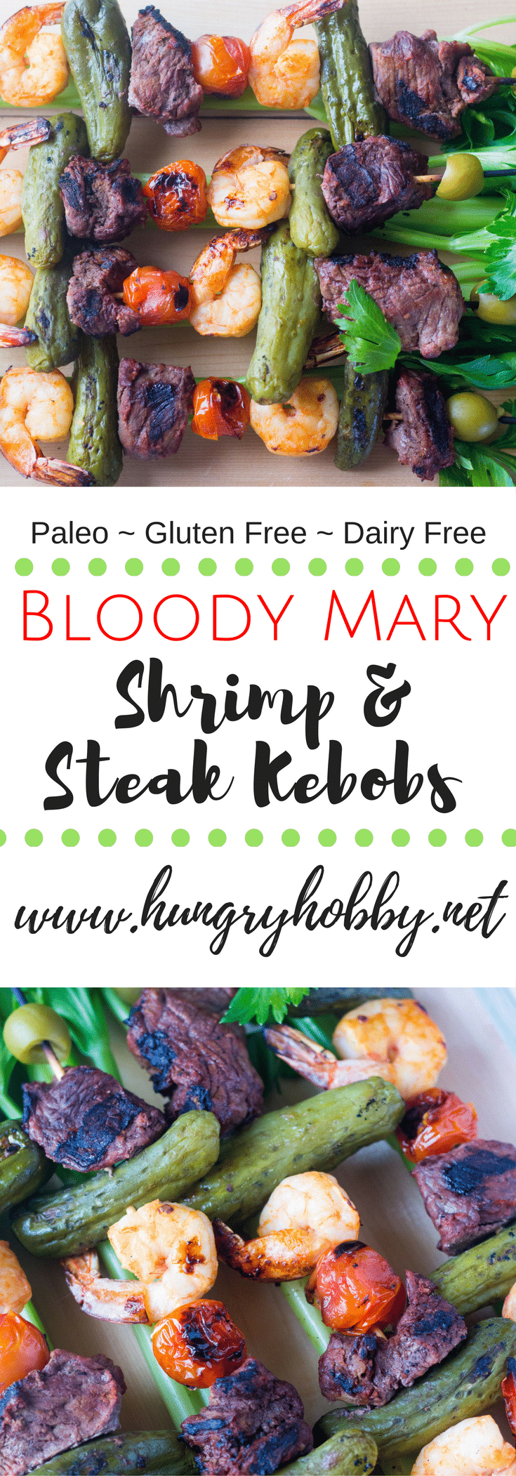 A fun zesty and juicy bloody Mary themed steak and shrimp kebob for your next backyard cookout! Paleo Friendly (gluten & dairy free)