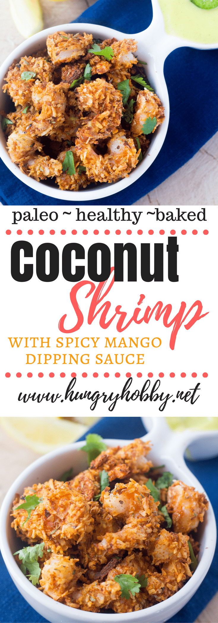 Baked Coconut Shrimp made from juicy shrimp that are coated with flavorful seasonings & coconut flakes then baked to a golden crispy perfection in less than 10 minutes. Paleo Friendly