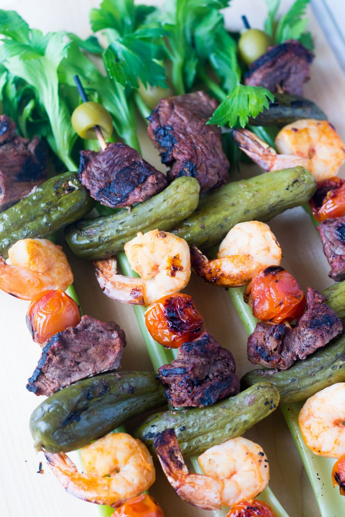 Bloody Mary Shrimp & Steak Kebob