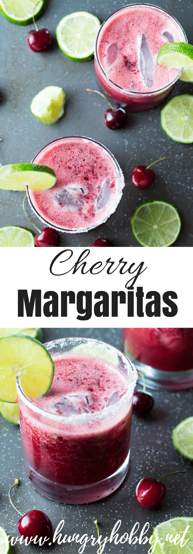 Refreshing and slightly healthier crushed cherry margaritas!