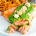 Pan Fried Salmon with Macadamia Arugula Pesto + Giveaway