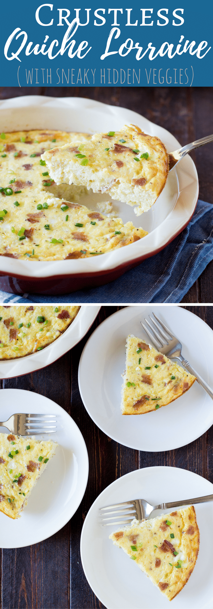 Healthier Crustless Quiche Lorraine is a smarter brunch recipe, all the rich creamy flavor but it's hiding extra veggies for the win!